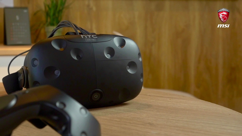 HTC Vive VR headset used by the MSI Electric City developers