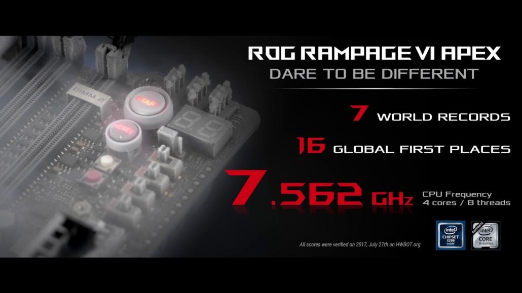 ASUS Rampage VI APEX overclocking scores